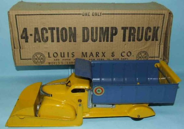 Marx Tin-Trucks Lumar contractors 4 action scoop dump truck. It features pre