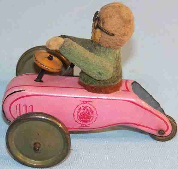 Schuco Tin-Figures Flywheel scooter #897 with beckoning balmy mountain, Lindber