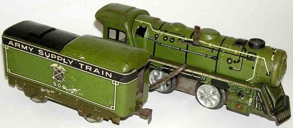 Marx Railway-Locomotives Engine with tender in green and black with wind-up mechanism