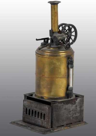 Weeden Steam-Toys-Vertical-Steam-Engines Upright steam engine. It has double flywheels. The burner i