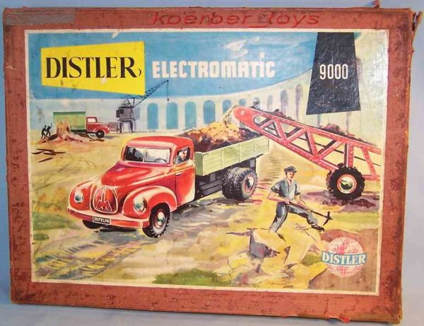 Distler Tin-Kit-Cars Electromatic truck component system in red, turquoise and gr