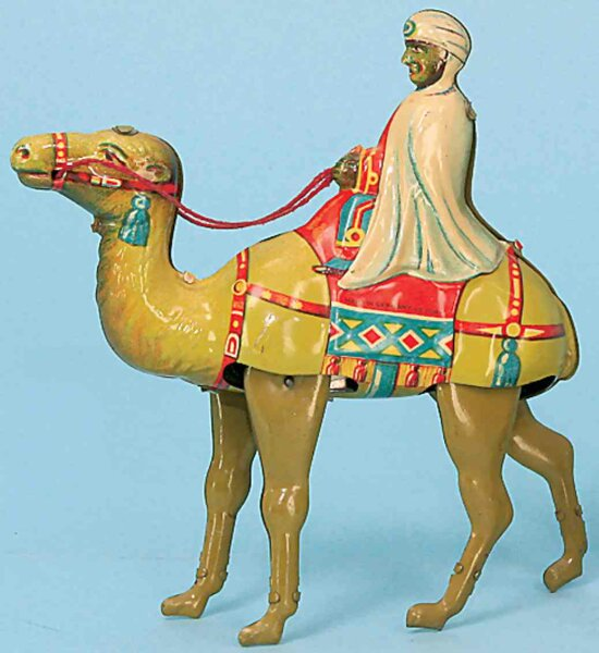 Keim Tin-Figures Camel #901 with Bedouin as rider and clockwork, lithographed