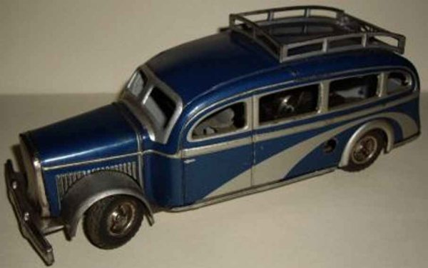 Tippco Tin-Buses Autobus from tin in parts lithographed in blue and silver wi