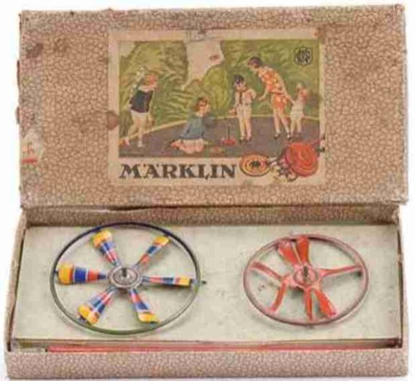 Maerklin Tin-Toys Spinner set, set contains 2 x circular spinners with colourf