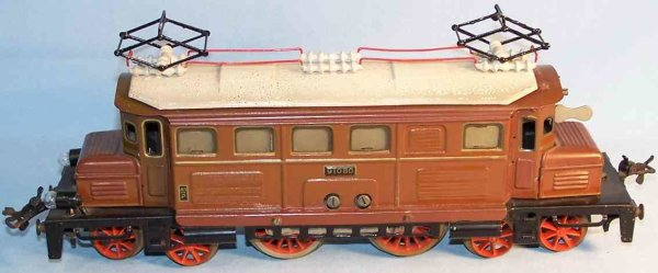 Bub Railway-Locomotives 18 volts electric locomotive #91080/18, hand-coated in brown