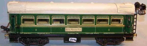 Bub Railway-Passenger Cars Passenger car #91201 with eight wheels, green hand-coated, w
