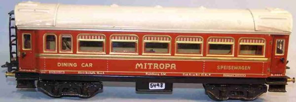 Bub Railway-Passenger Cars Dining car #91231 with eight wheels, light red hand-coated,