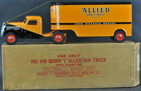 Buddy L Tin-Trucks Allied van lines truck, boxed example, pressed steel, tracto