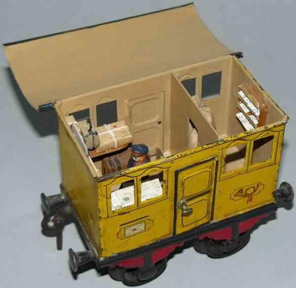 Bing Railway-Passenger Cars Mail car #9196 with four wheels, in a yellow way hand-coated