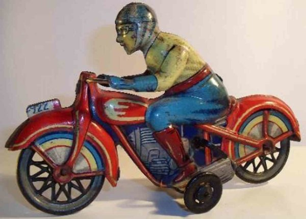 PAYA Tin-Motorcycles Motorcycle lithographed with clockwork