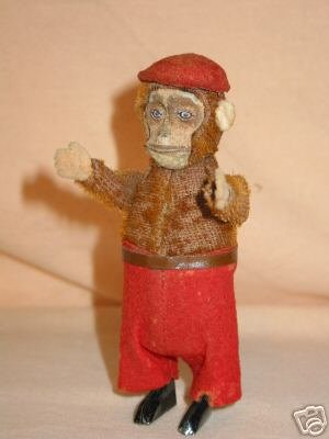 Schuco Tin-Dance Figures Monkey chimp made from tin, plush and felt, with clockwork,