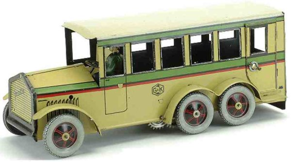 Greppert & Kelch Tin-Buses Bus lithographed tin clockwork with original driver, unusual