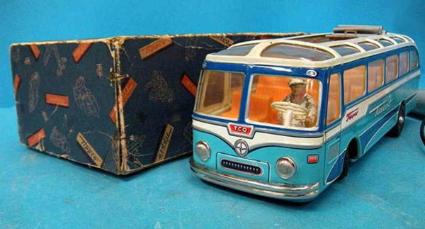 Tippco Tin-Buses Tourist bus with blue original varnish and friction drive, w