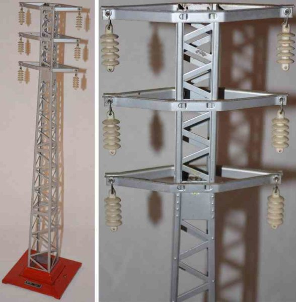 Lionel Railway-Rails/Power Hight tension tower #94.3 with base in red, tower aluminium