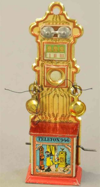 Meier Tin-Penny Toy Telephone embossed lithographed tin with crank operate plin