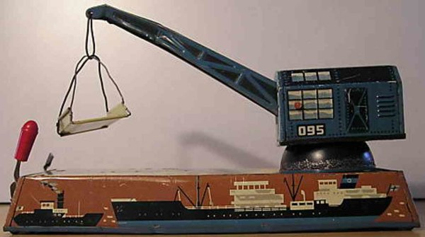Biller Railway-Cranes Harbor crane lithographed with clockwork and different mecha