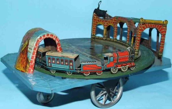 Levy George (Gely) Tin-Toys Tunnel train pull toy on Platform. It is interesting as it i