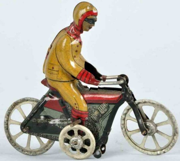 Kellermann Tin-Penny Toy Tin lithographed motorcycle flywheel driven, missing front t