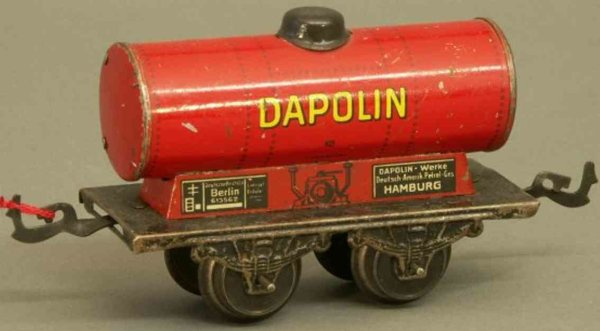 Bub Railway-Freight Wagons Tank car #961 with four wheels, lithographed in red and blac