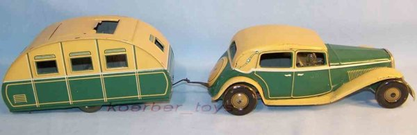 Tippco Tin-Oldtimer Sports car with trailer and feather clockwork, green and bei