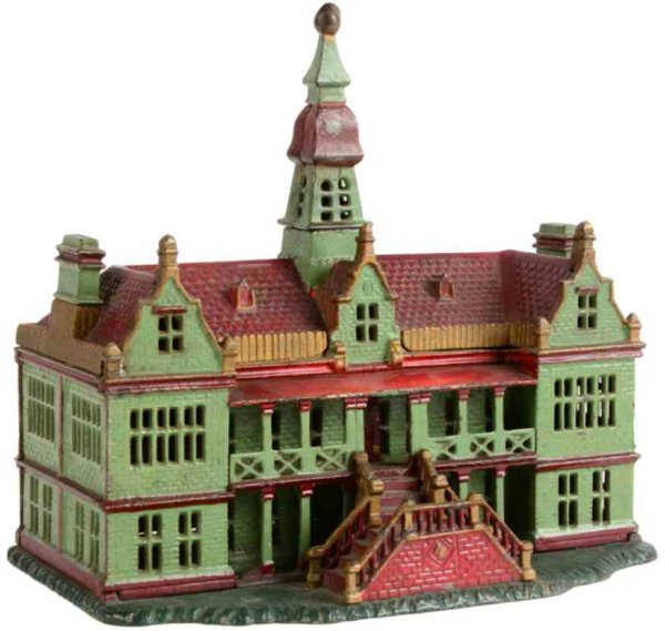 Ives Cast-Iron-Mechanical Banks Palace still bank, painted version, green three story house