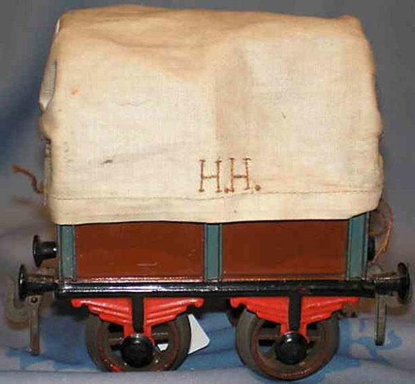 Bing Railway-Freight Wagons Tarpaulin car #9681 with four wheels, maroon and black hand-
