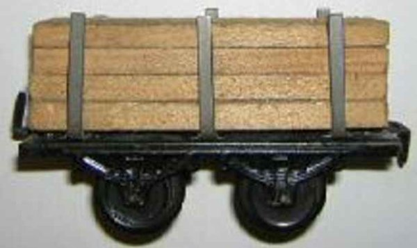 Bub Railway-Freight Wagons Lumber car #970 with four wheels, blackly chrome-lithographe