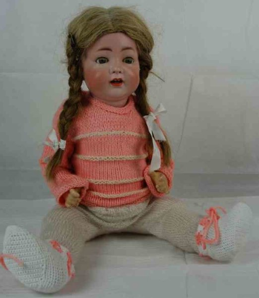 Hertel, Schwab & C0. Dolls Porcelain head doll, blue sleep eyes, real hair wig, clothin