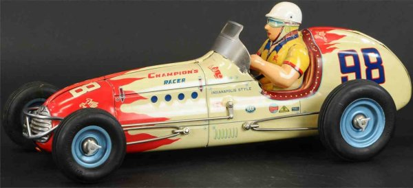 Yonezawa Tin-Race-Cars Tin Agajanian special #98 race car with friction drive, much