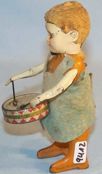Schuco Tin-Dance Figures Angel with drum, made of tin, felt and wool, with clockwork