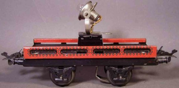 Bub Railway-Freight Wagons Spotlight car #989 with four wheels, maroon lithographed