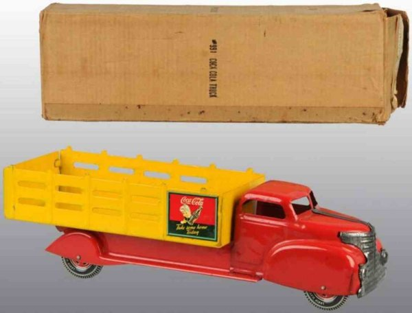 Marx Tin-Trucks Coca-Cola stake back truck of pressed steel No. 991 with Coc