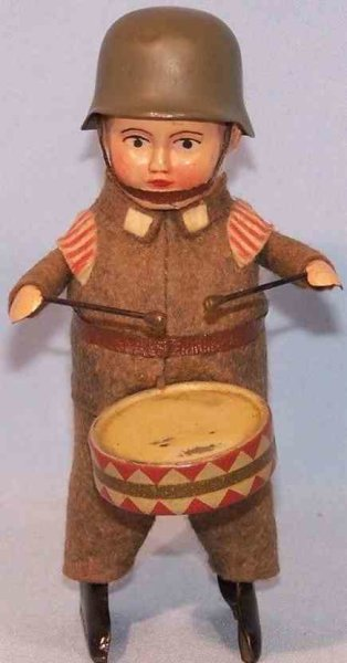 Schuco Tin-Dance Figures Empire soldier #991/1 with drum and clockwork, field-gray fe