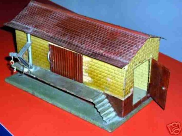 Bing Railway-Freight Station/Accessories Freight shed #9912/1 hand-coated, shaped roof and walls. 1