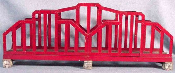 Ives Railway-Bridges Wide gauge bridge, painted in red with simulated concrete br