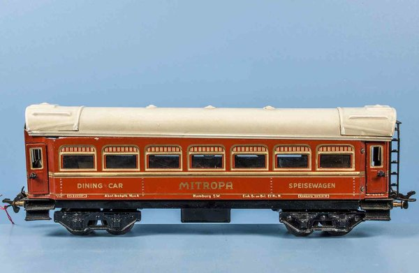 Bub Railway-Passenger Cars Dining car #9931 with eight wheels, red and brown hand-coate