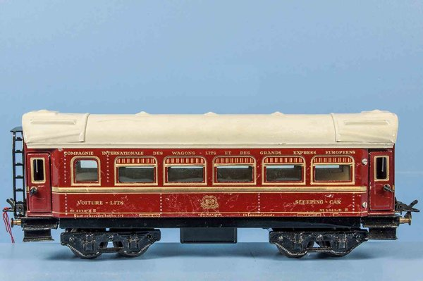 Bub Railway-Passenger Cars Pullman car #9932 with eight wheels, maroon hand-coated, 4 e