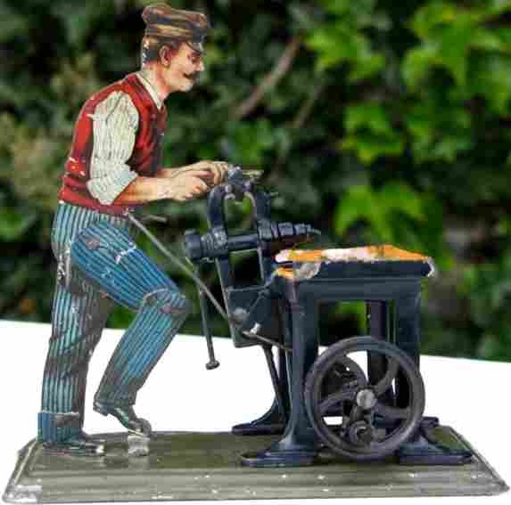 Bing Steam Toys-Drive Models Locksmith #9956/99 as a flat figure lithographed