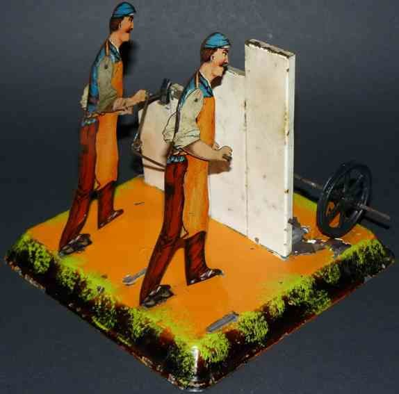 Bing Steam Toys-Drive Models Carpenter and Stonesman #9956/360, the stonemason is missing