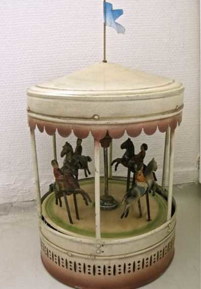 Bing Tin-Carousels Roundabout handpainted with music and 4 boys on horses