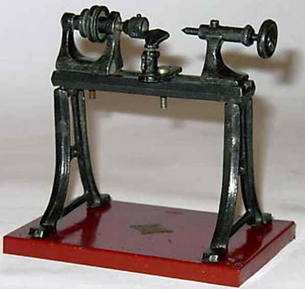 Bing Steam Toys-Drive Models Lathe #9956/478 of cast material on a sheet base with old GB