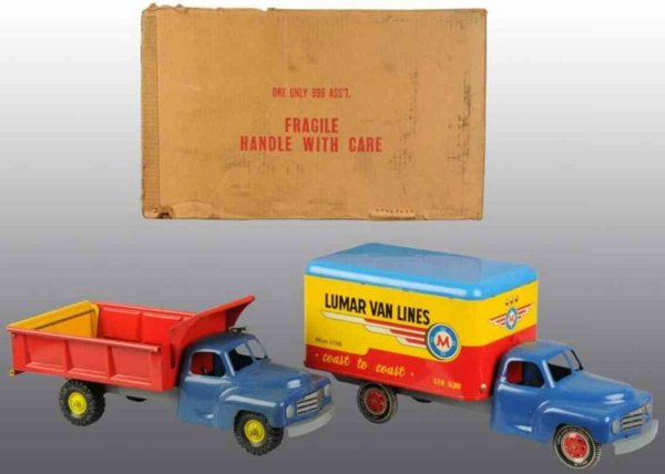 Marx Tin-Trucks Truck assortment, includes two trucks made of pressed steel,