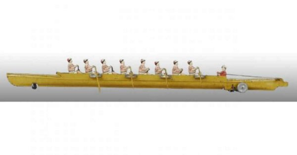 Bing Tin-Ships Rowing Scull with wind-up, 8 rowers have individual oars, wh