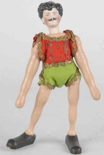 Schoenhut Wood-Figures Male acrobat with jointed  arms, legs, and bisque head. Orig