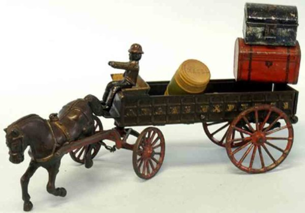 Ives Cast-Iron-Carriages Adams Express Wagon, long open bed cart, embossed,   Adams E
