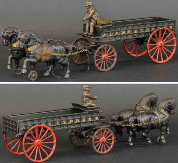 Ives Cast-Iron-Carriages Adams express wagon made of cast iron, long open bed cart, e