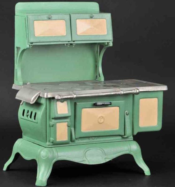 Vindex cast iron kitchen Admiral toy range, cast iron, painted in cream and green, on