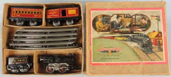 American Flyer Railway-Trains Clockwork passenger train set includes original box with nic