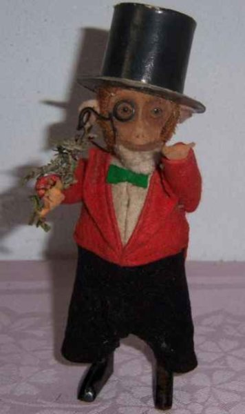 Schuco Tin-Dance Figures Dancing-monkey gentleman, scarce example, wears full felt su