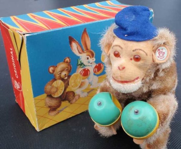 Carl Max Tin-Figures Monkey with rumba balls, wind-up toy